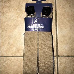 Beige adjustable suspenders for men or women